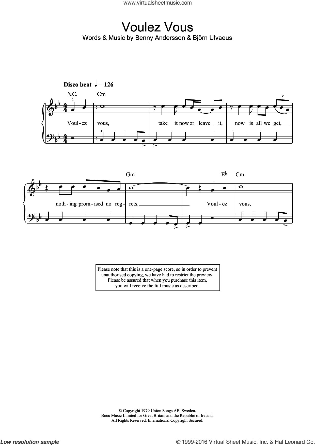 Voulez-Vous sheet music for piano solo (beginners) by ABBA, Benny Andersson and Bjorn Ulvaeus, beginner piano (beginners). Score Image Preview.