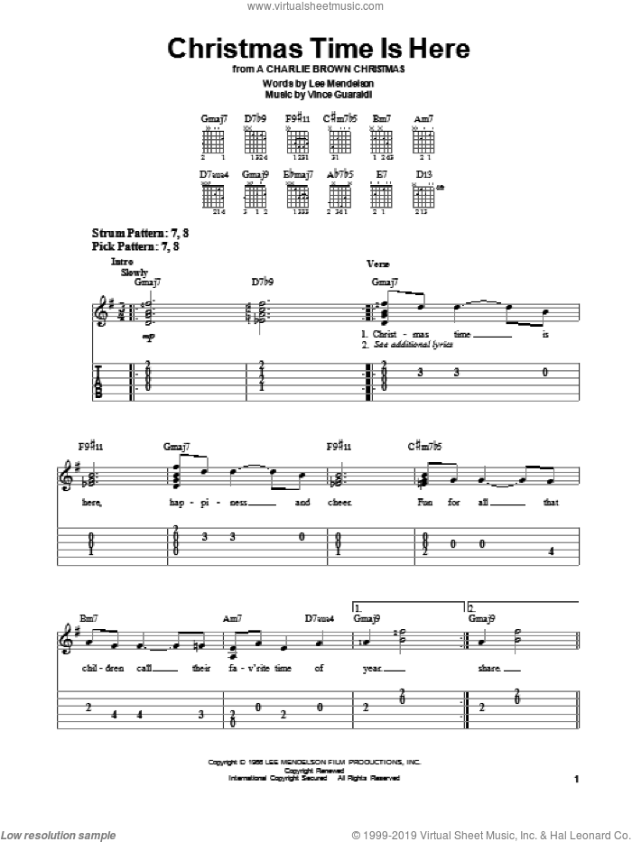 Christmas Time Is Here sheet music for guitar solo (chords) by Vince Guaraldi and Lee Mendelson, easy guitar (chords)