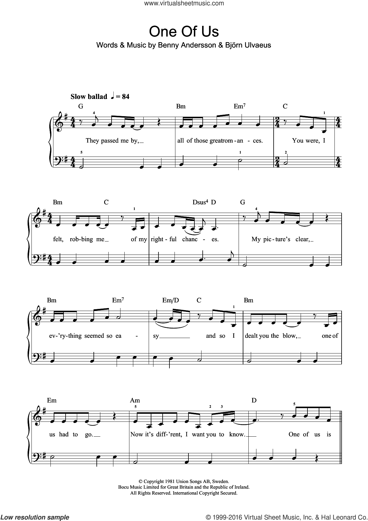 One Of Us sheet music for piano solo (beginners) by ABBA, Benny Andersson and Bjorn Ulvaeus, beginner piano (beginners). Score Image Preview.