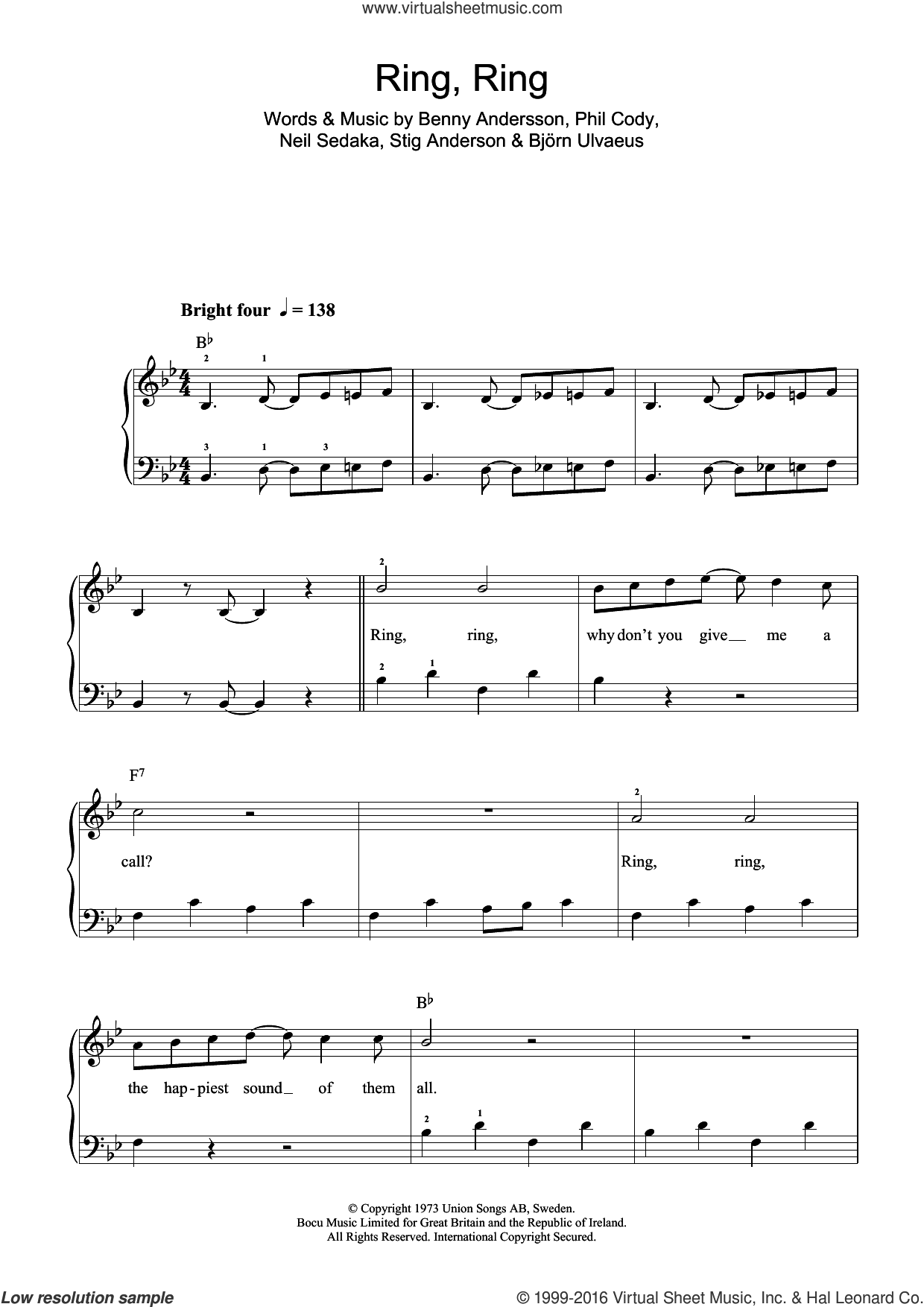 Ring, Ring sheet music for piano solo (beginners) by Stig Anderson, ABBA, Benny Andersson, Bjorn Ulvaeus, Neil Sedaka and Phil Cody. Score Image Preview.