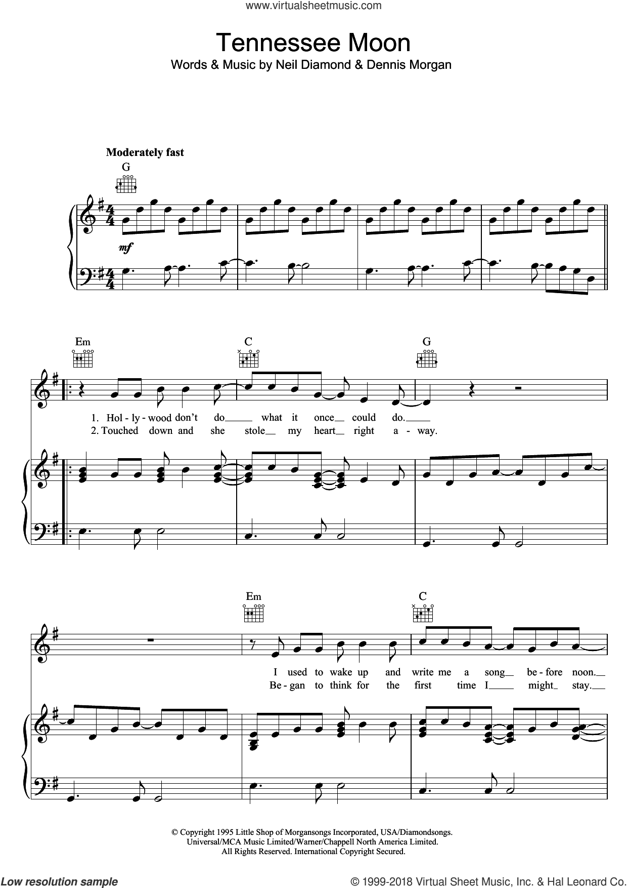 Tennessee Moon sheet music for voice, piano or guitar by Neil Diamond and Dennis Morgan, intermediate skill level