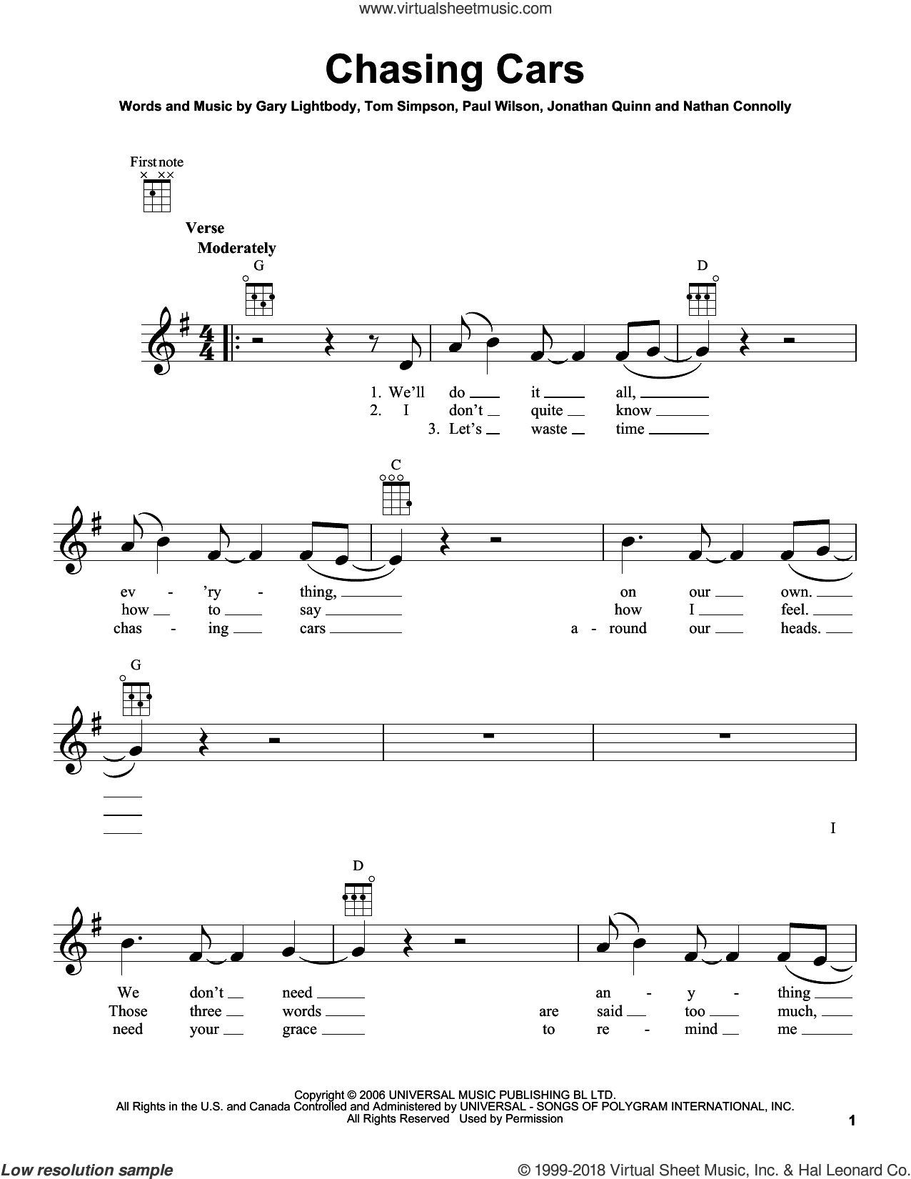 Chasing Cars sheet music for ukulele by Snow Patrol, Gary Lightbody, Jonathan Quinn, Nathan Connolly, Paul Wilson and Tom Simpson, wedding score, intermediate skill level