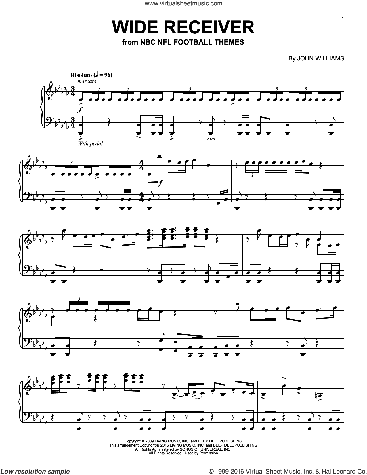 Wide Receiver sheet music for piano solo by John Williams, intermediate. Score Image Preview.