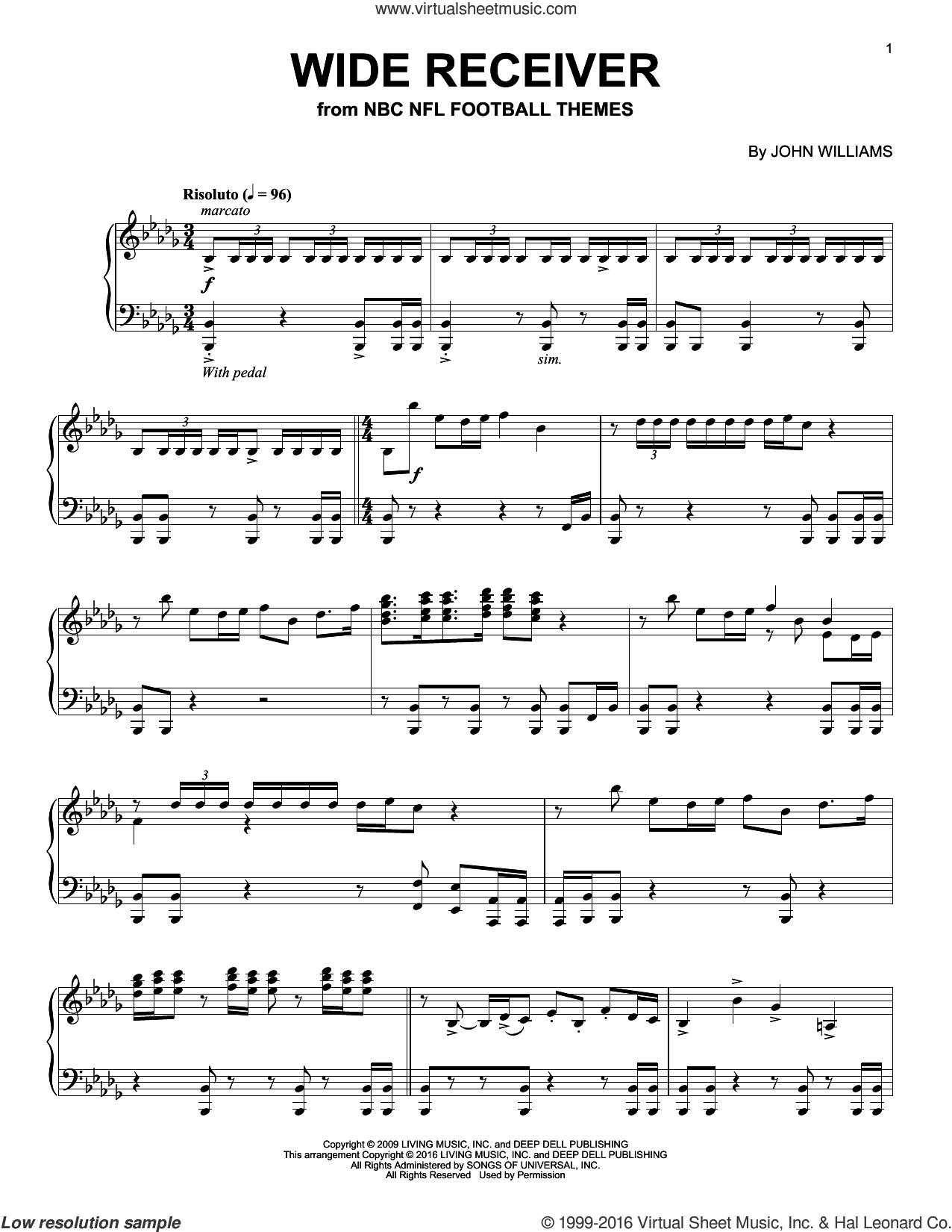 Wide Receiver sheet music for piano solo by John Williams, intermediate skill level