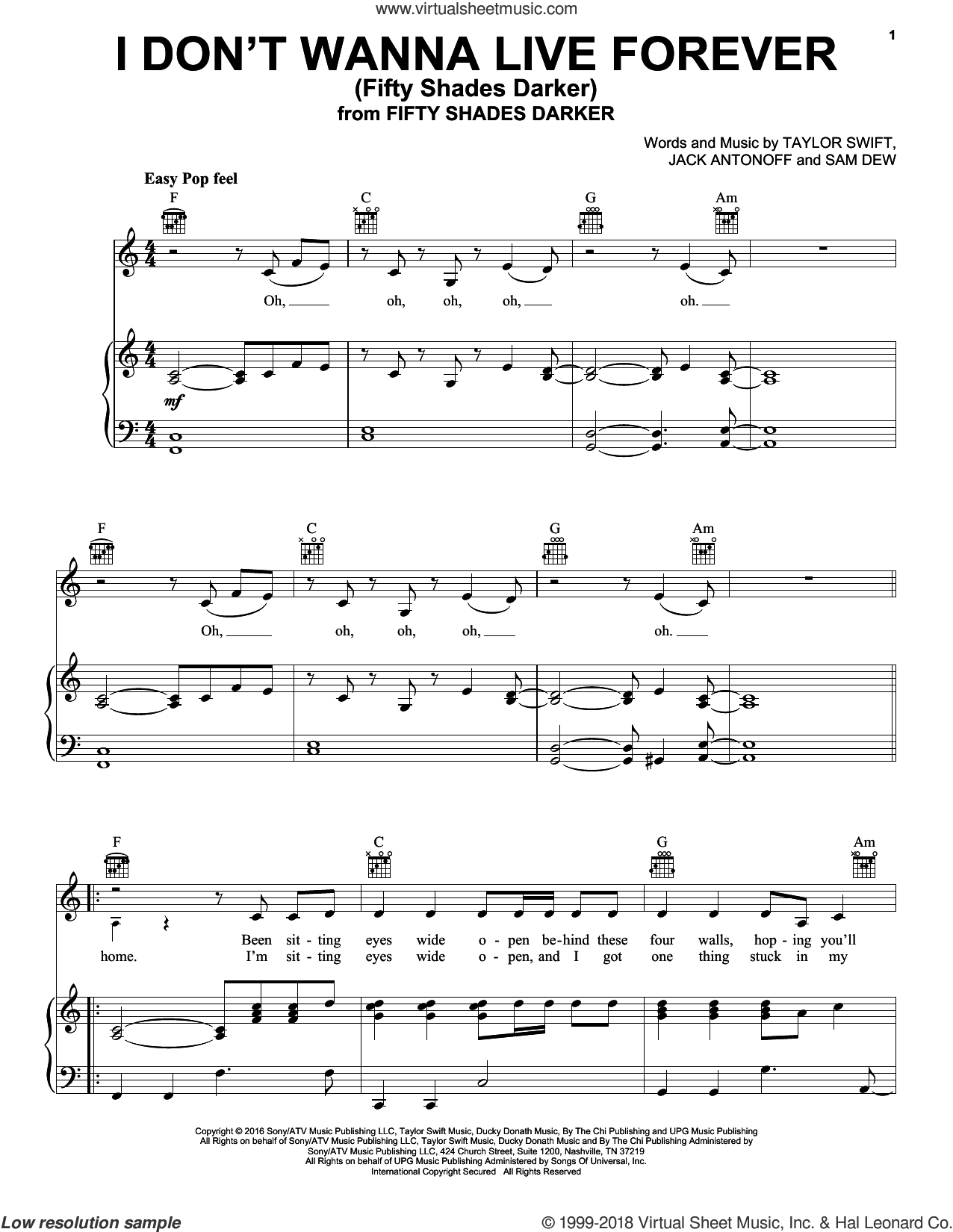 I Don't Wanna Live Forever sheet music for voice, piano or guitar by Zayn and Taylor Swift, Jack Antonoff, Sam Dew and Taylor Swift, intermediate skill level