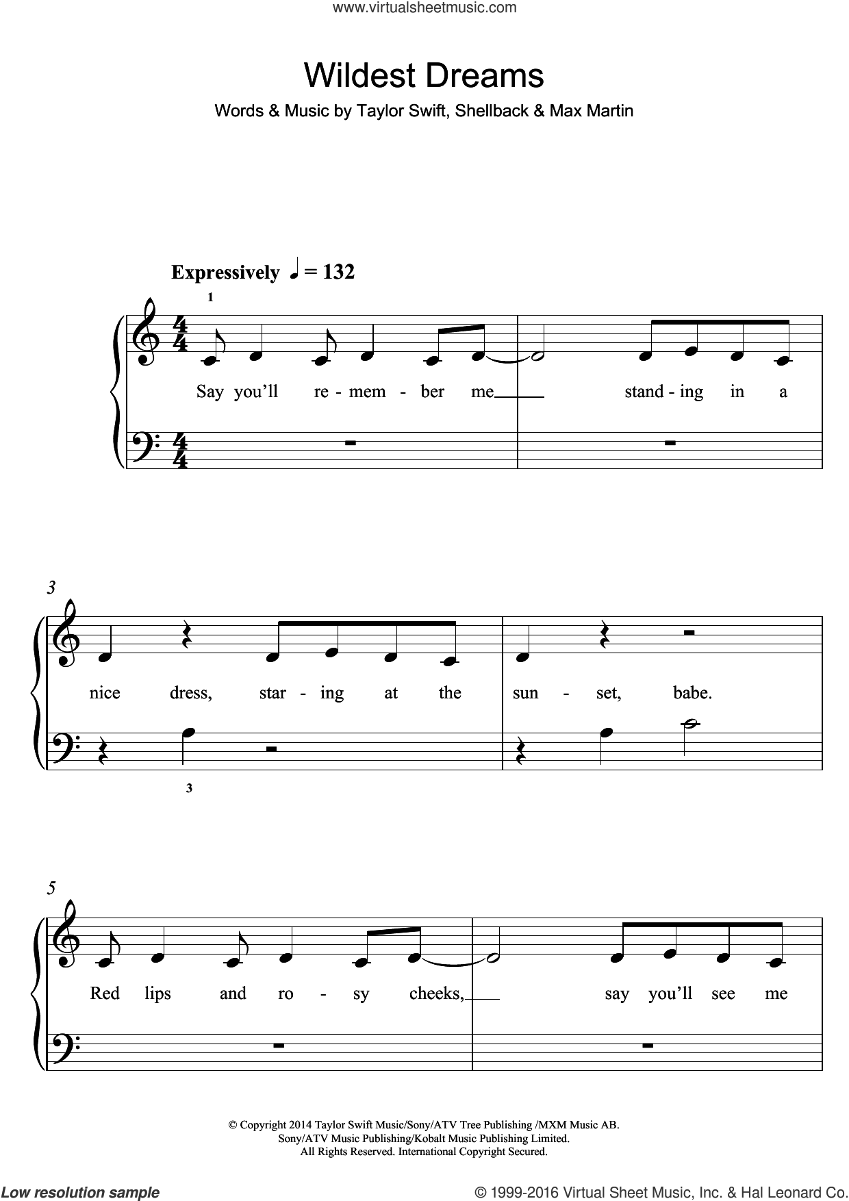 Wildest Dreams sheet music for piano solo (5-fingers) by Taylor Swift, Max Martin and Shellback, beginner piano (5-fingers)