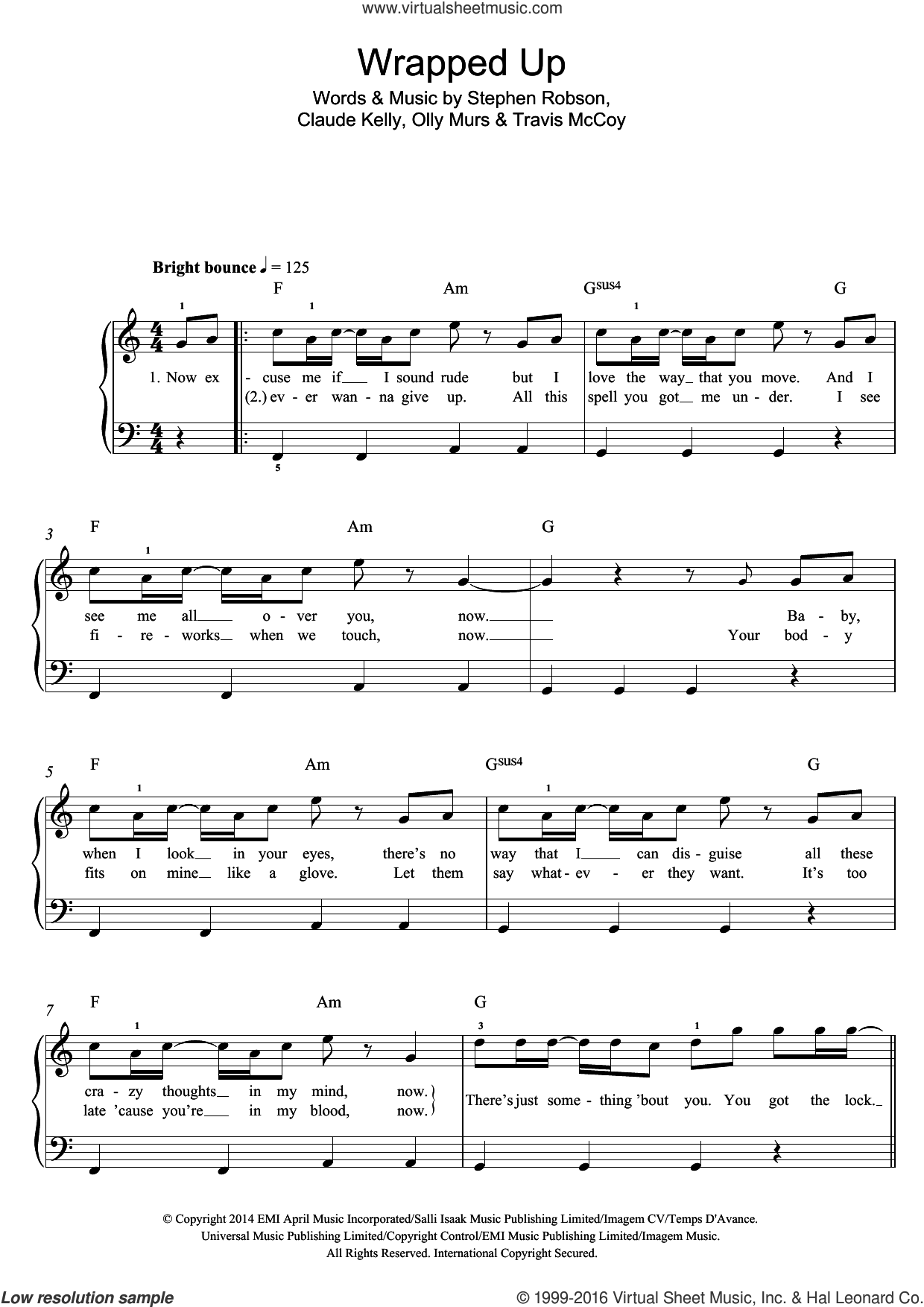 Wrapped Up sheet music for piano solo (beginners) by Olly Murs, Claude Kelly and Travis McCoy. Score Image Preview.