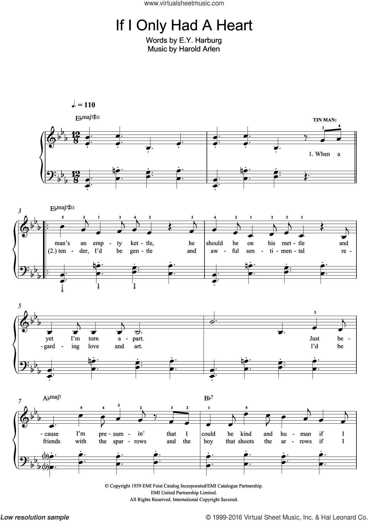 If I Only Had A Heart sheet music for piano solo by Harold Arlen and E.Y. Harburg, easy skill level