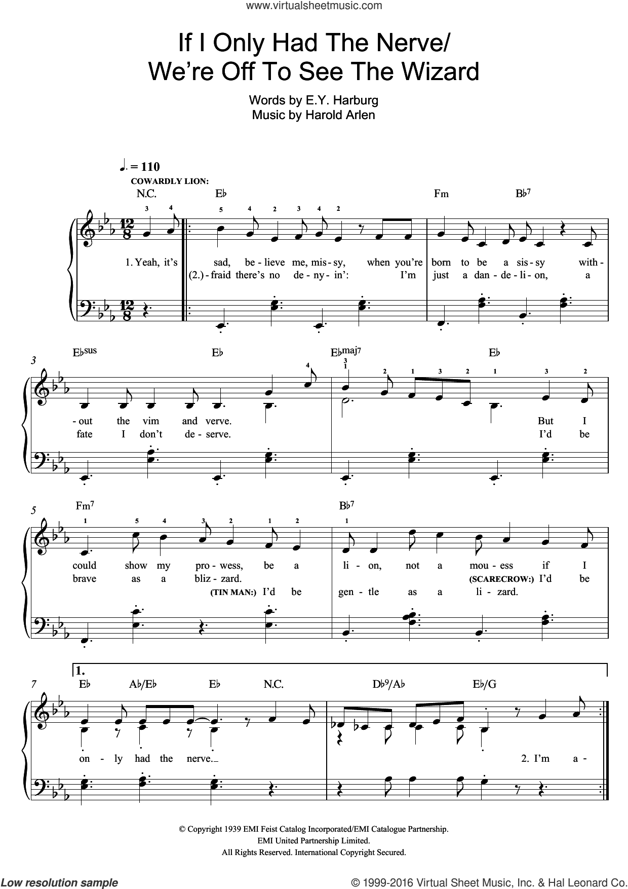 If I Only Had The Nerve sheet music for piano solo by Harold Arlen and E.Y. Harburg, easy. Score Image Preview.