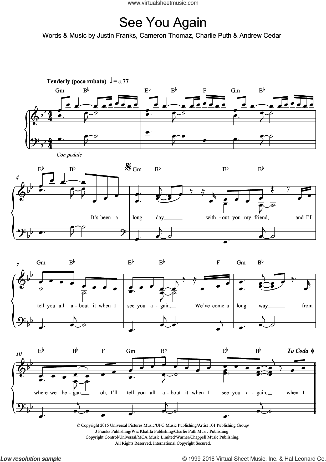See You Again (featuring Charlie Puth) sheet music for piano solo by Wiz Khalifa, Andrew Cedar, Cameron Thomaz, Charlie Puth and Justin Franks, easy skill level