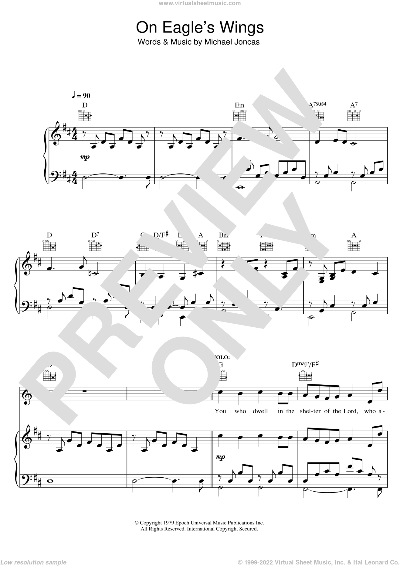 On Eagle's Wings sheet music for voice, piano or guitar by Michael Joncas, intermediate skill level
