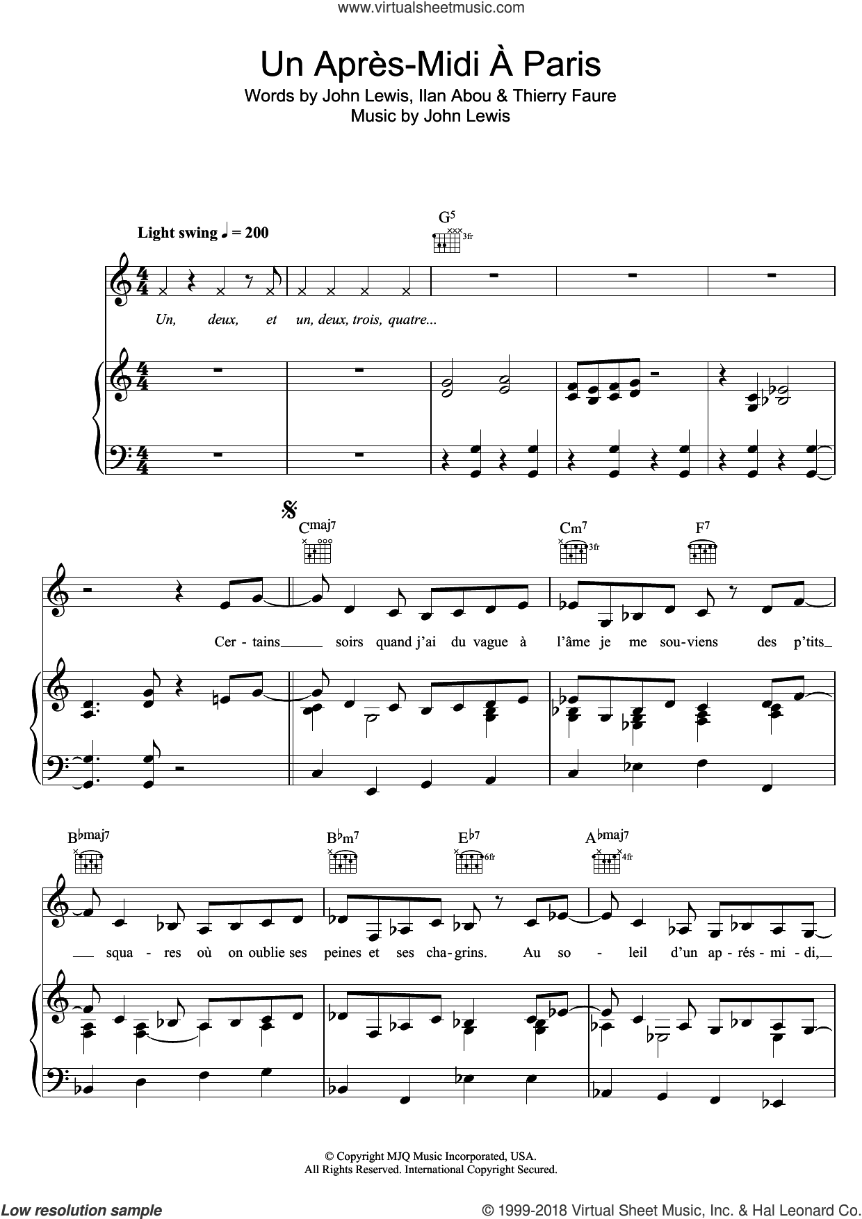 Paris, L'apres-Midi sheet music for voice, piano or guitar by Zaz, Ilan Abou, John Lewis and Thierry Faure, intermediate skill level