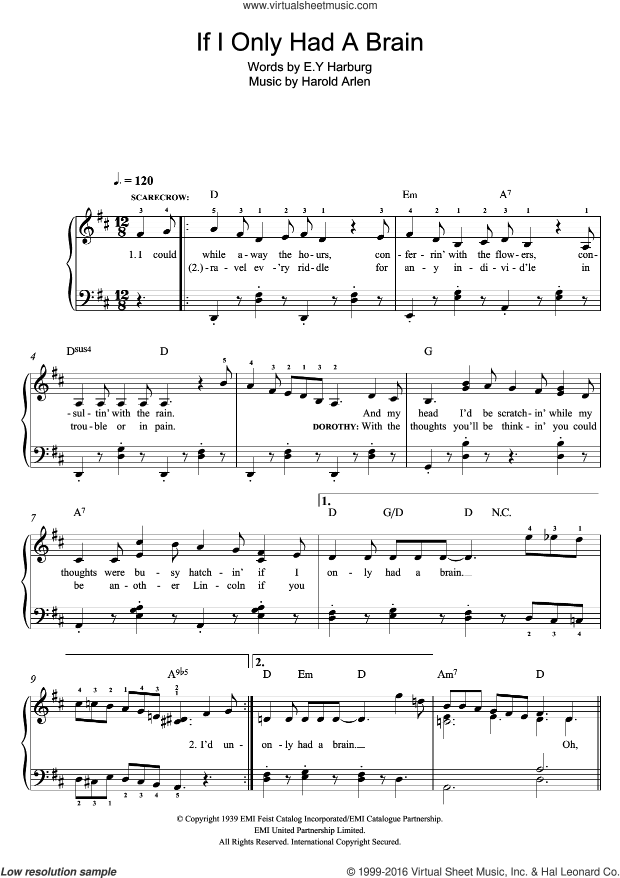 If I Only Had A Brain, (easy) sheet music for piano solo by Harold Arlen and E.Y. Harburg, easy skill level