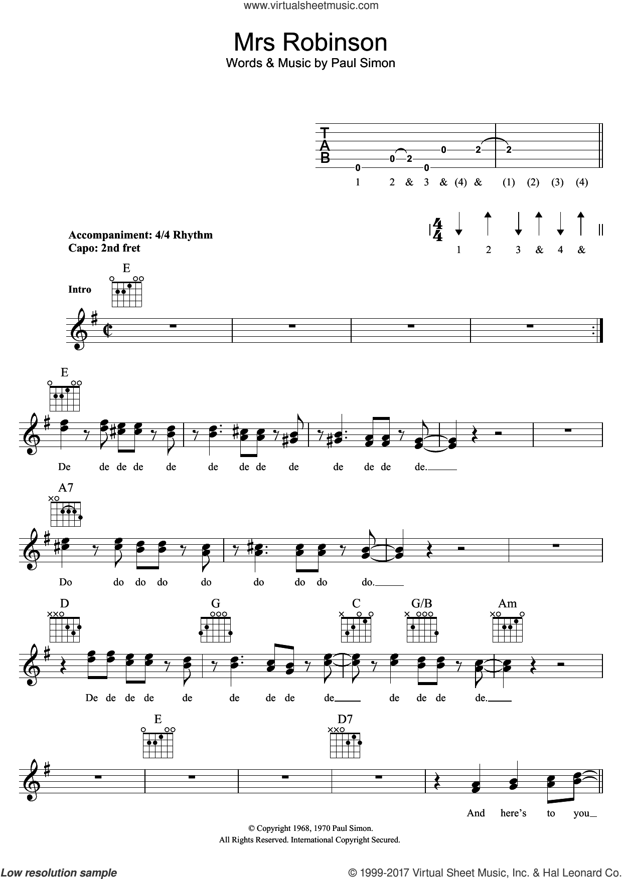 Mrs. Robinson sheet music for voice and other instruments (fake book) by Simon & Garfunkel and Paul Simon, intermediate skill level