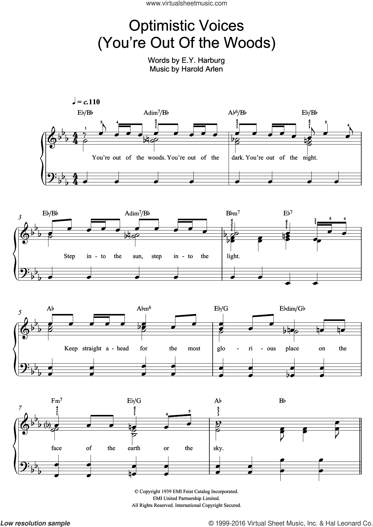 Optimistic Voices sheet music for piano solo by Harold Arlen and E.Y. Harburg, easy skill level