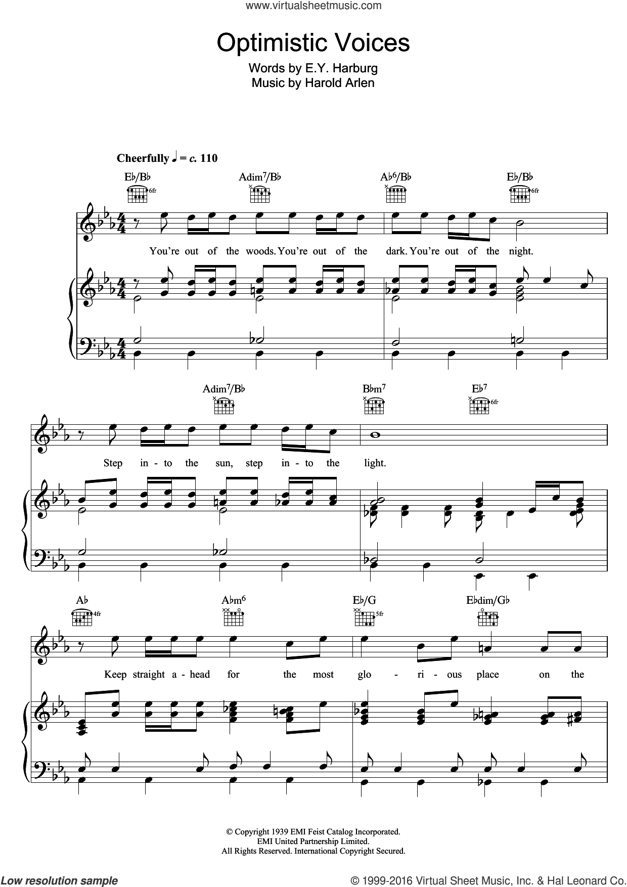 Optimistic Voices sheet music for voice, piano or guitar by Harold Arlen and E.Y. Harburg. Score Image Preview.