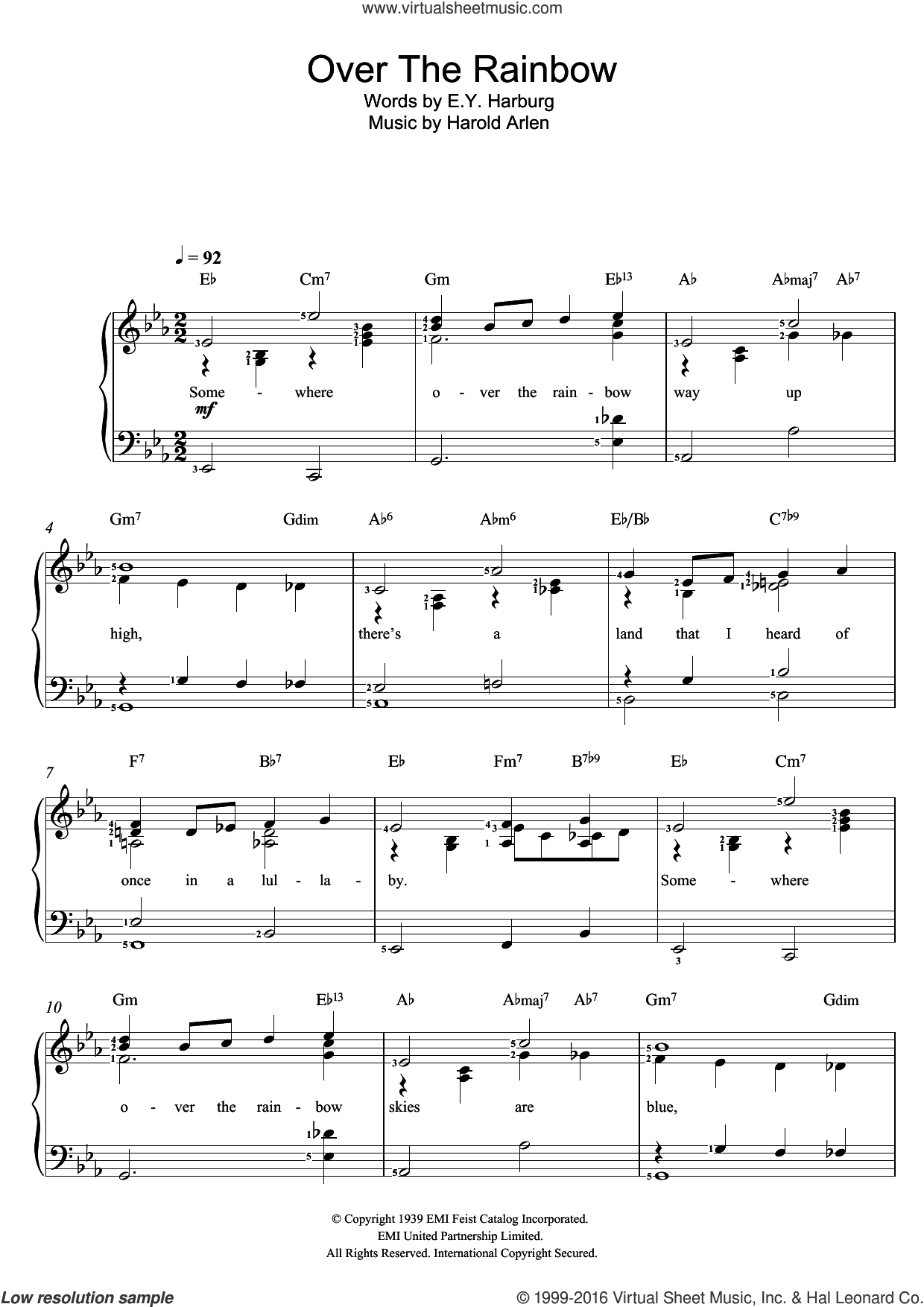 Over The Rainbow (from 'The Wizard Of Oz') sheet music for voice and piano by Judy Garland, Eva Cassidy, E.Y. Harburg and Harold Arlen, intermediate