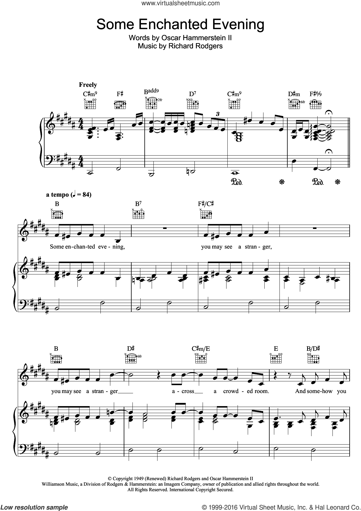 Some Enchanted Evening (from South Pacific) sheet music for voice, piano or guitar by Richard Rodgers, Bob Dylan and Oscar II Hammerstein. Score Image Preview.