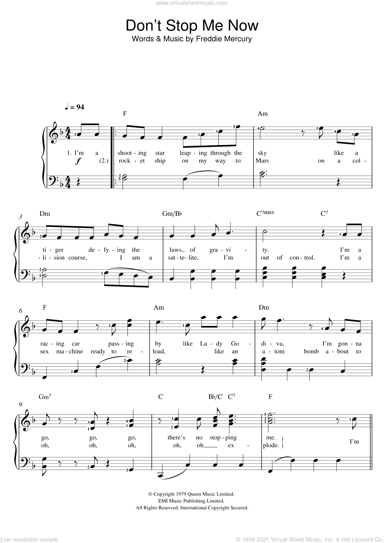 Don't Stop Me Now sheet music for voice and piano by Queen and Freddie Mercury, intermediate. Score Image Preview.
