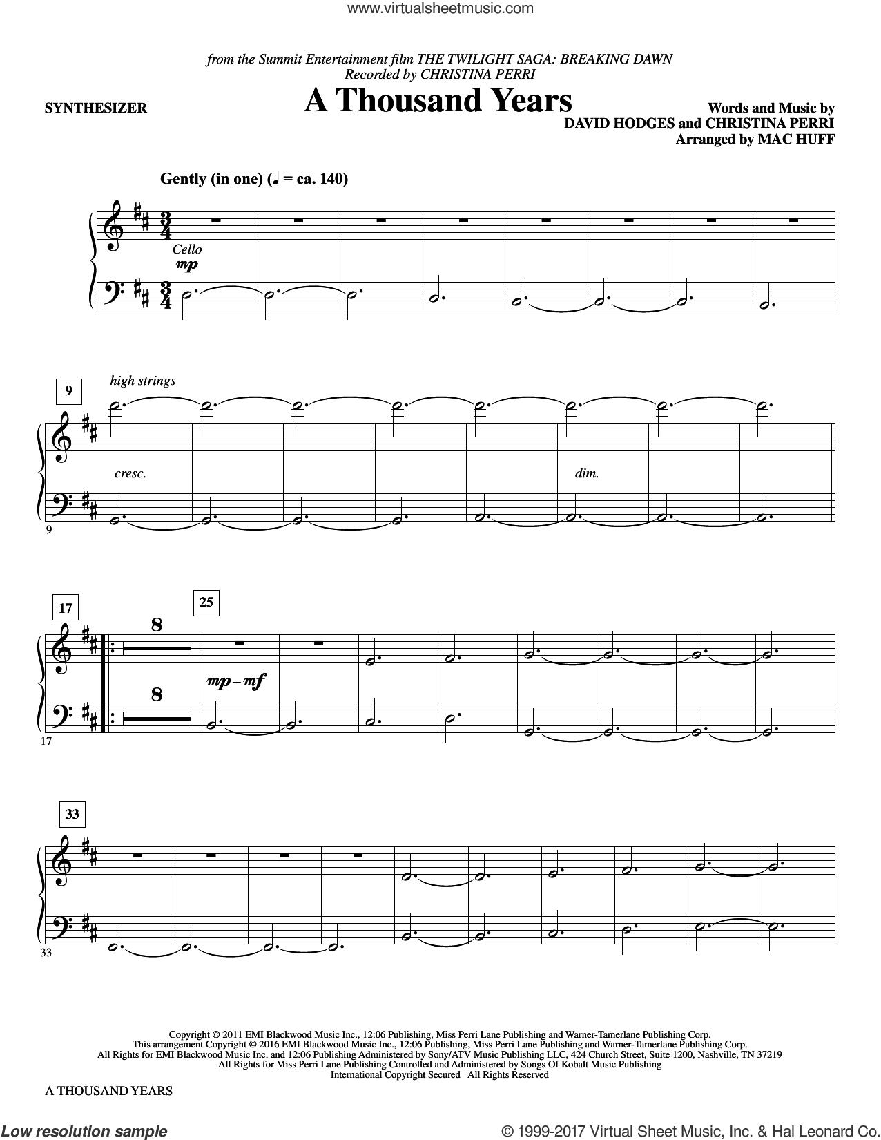 A Thousand Years (complete set of parts) sheet music for orchestra/band by Mac Huff, Christina Perri and David Hodges, intermediate. Score Image Preview.