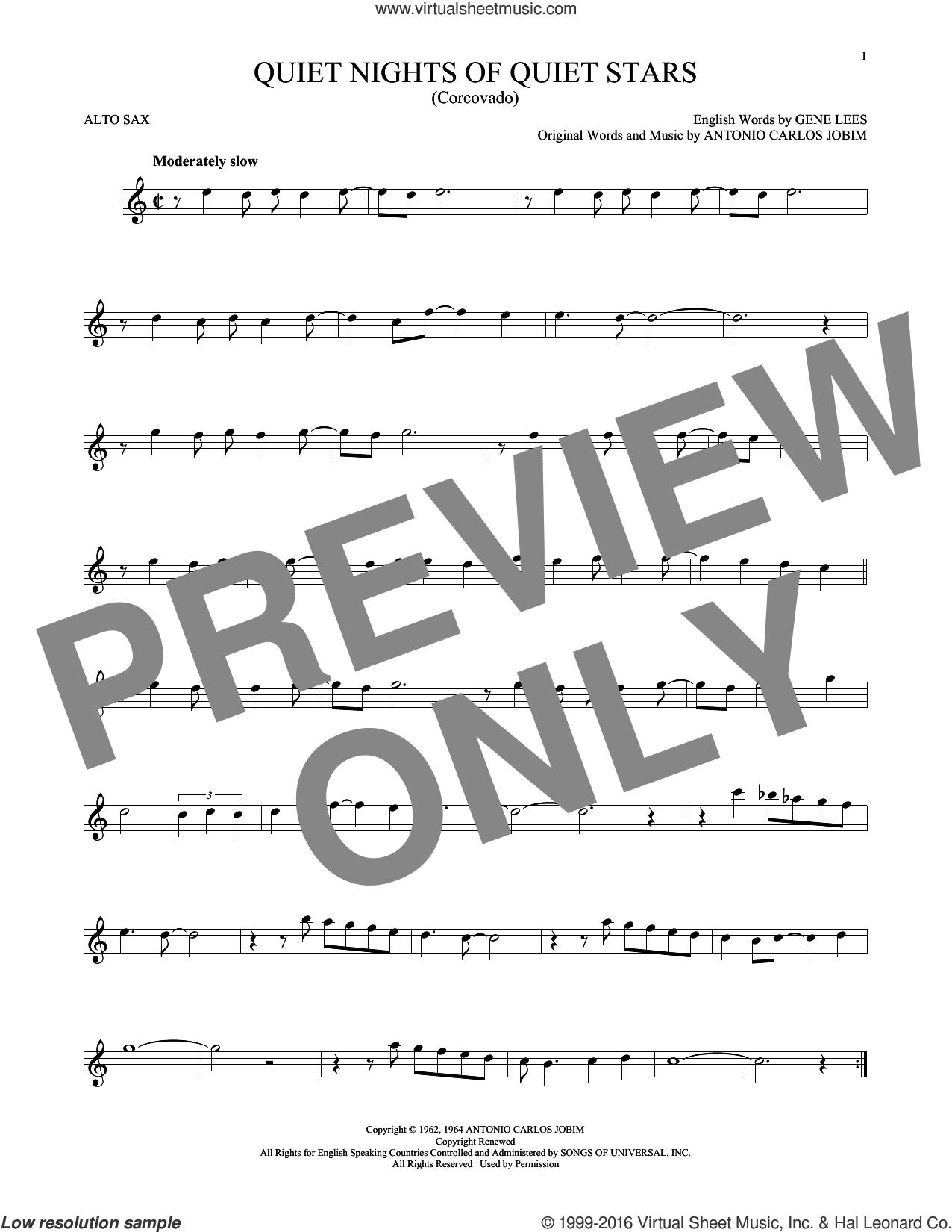 Quiet Nights Of Quiet Stars (Corcovado) sheet music for alto saxophone solo by Andy Williams and Antonio Carlos Jobim. Score Image Preview.