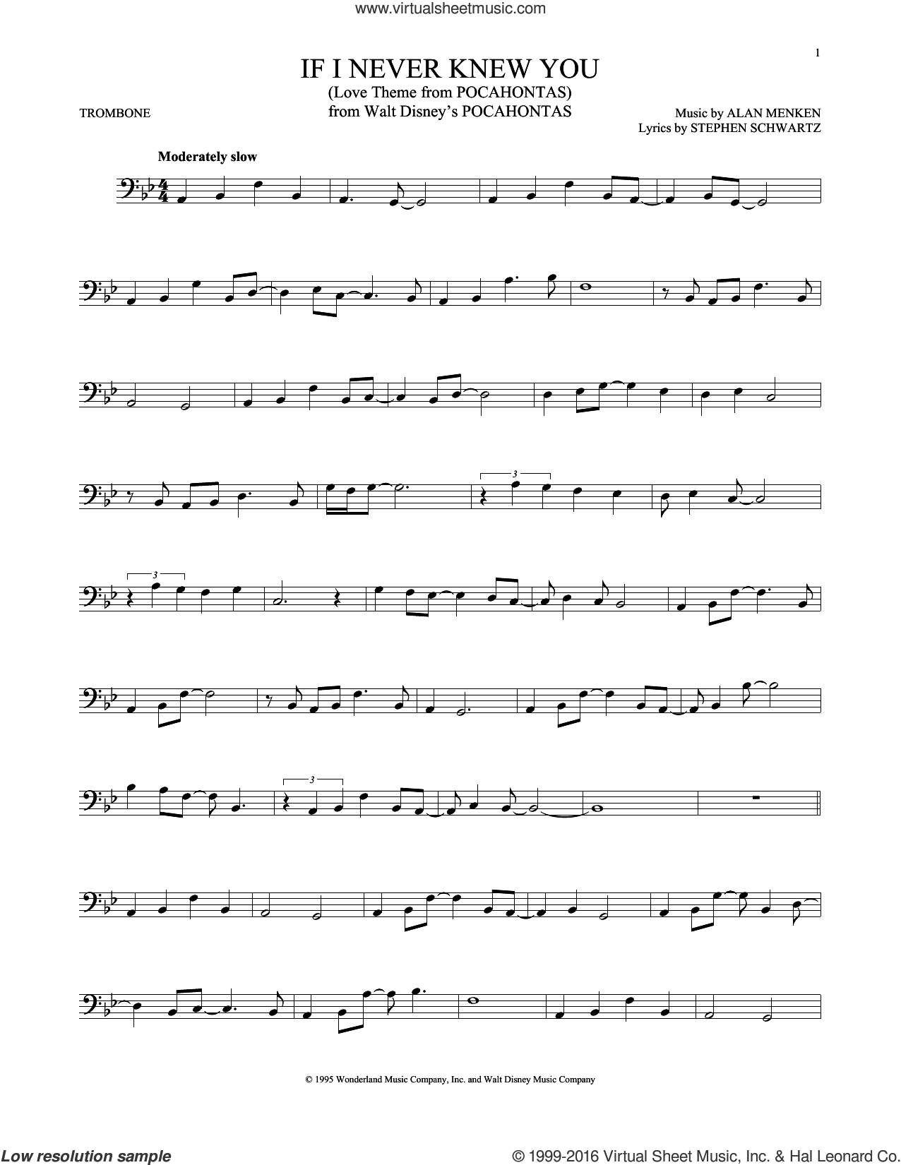 If I Never Knew You (Love Theme from POCAHONTAS) sheet music for trombone solo by Jon Secada and Shanice, Alan Menken and Stephen Schwartz, intermediate skill level