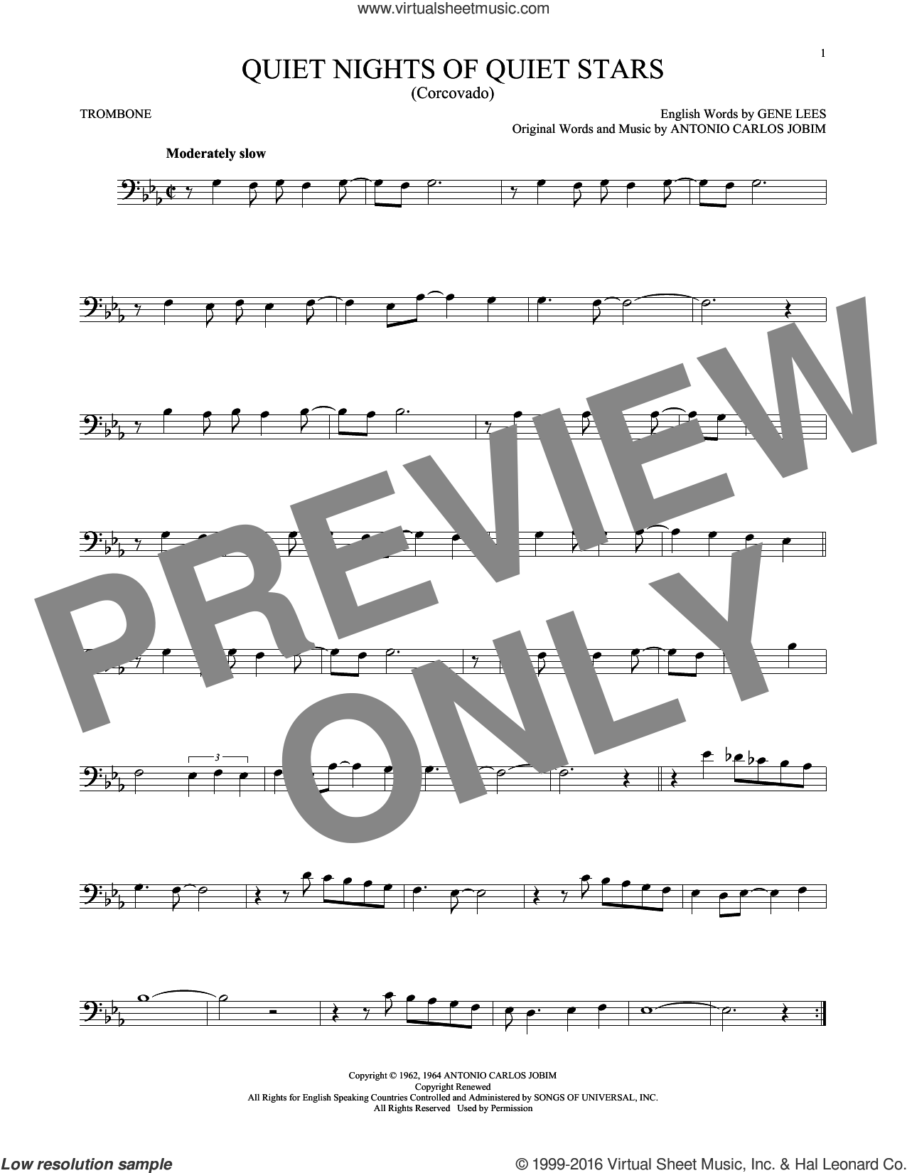 Quiet Nights Of Quiet Stars (Corcovado) sheet music for trombone solo by Andy Williams and Antonio Carlos Jobim. Score Image Preview.