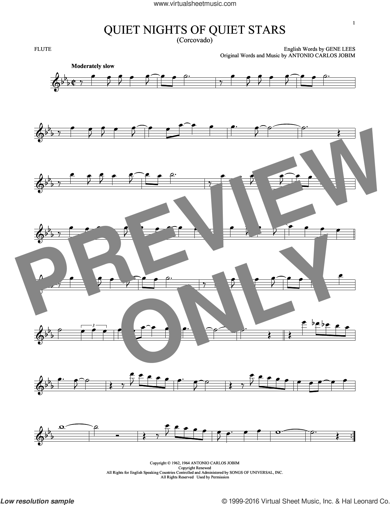 Quiet Nights Of Quiet Stars (Corcovado) sheet music for flute solo by Andy Williams, Antonio Carlos Jobim and Eugene John Lees, intermediate skill level