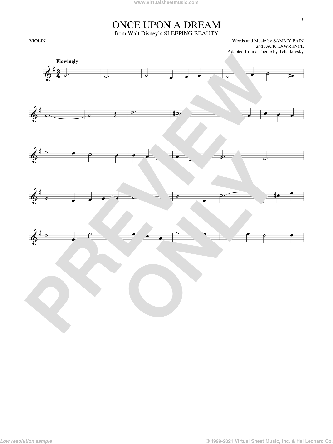 Once Upon A Dream sheet music for violin solo by Sammy Fain and Jack Lawrence, intermediate skill level