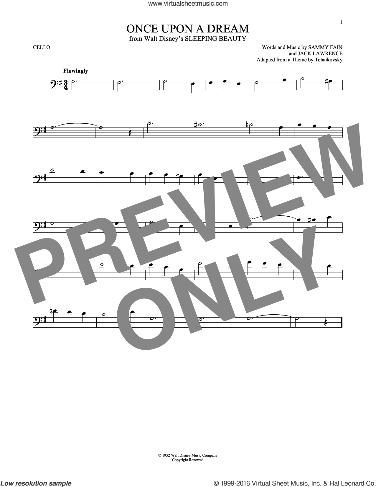 Once Upon A Dream sheet music for cello solo by Sammy Fain and Jack Lawrence, intermediate. Score Image Preview.