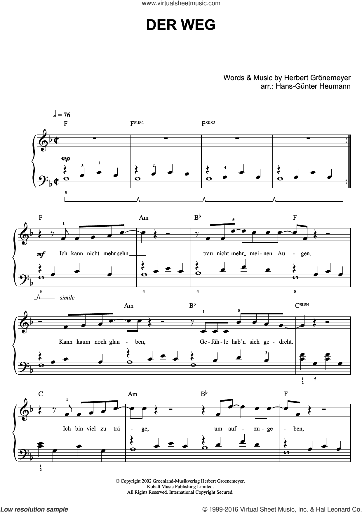 Der Weg sheet music for piano solo by Herbert Groenemeyer, easy skill level