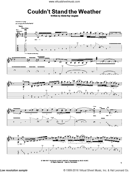 Couldn't Stand The Weather sheet music for guitar (tablature) by Stevie Ray Vaughan. Score Image Preview.