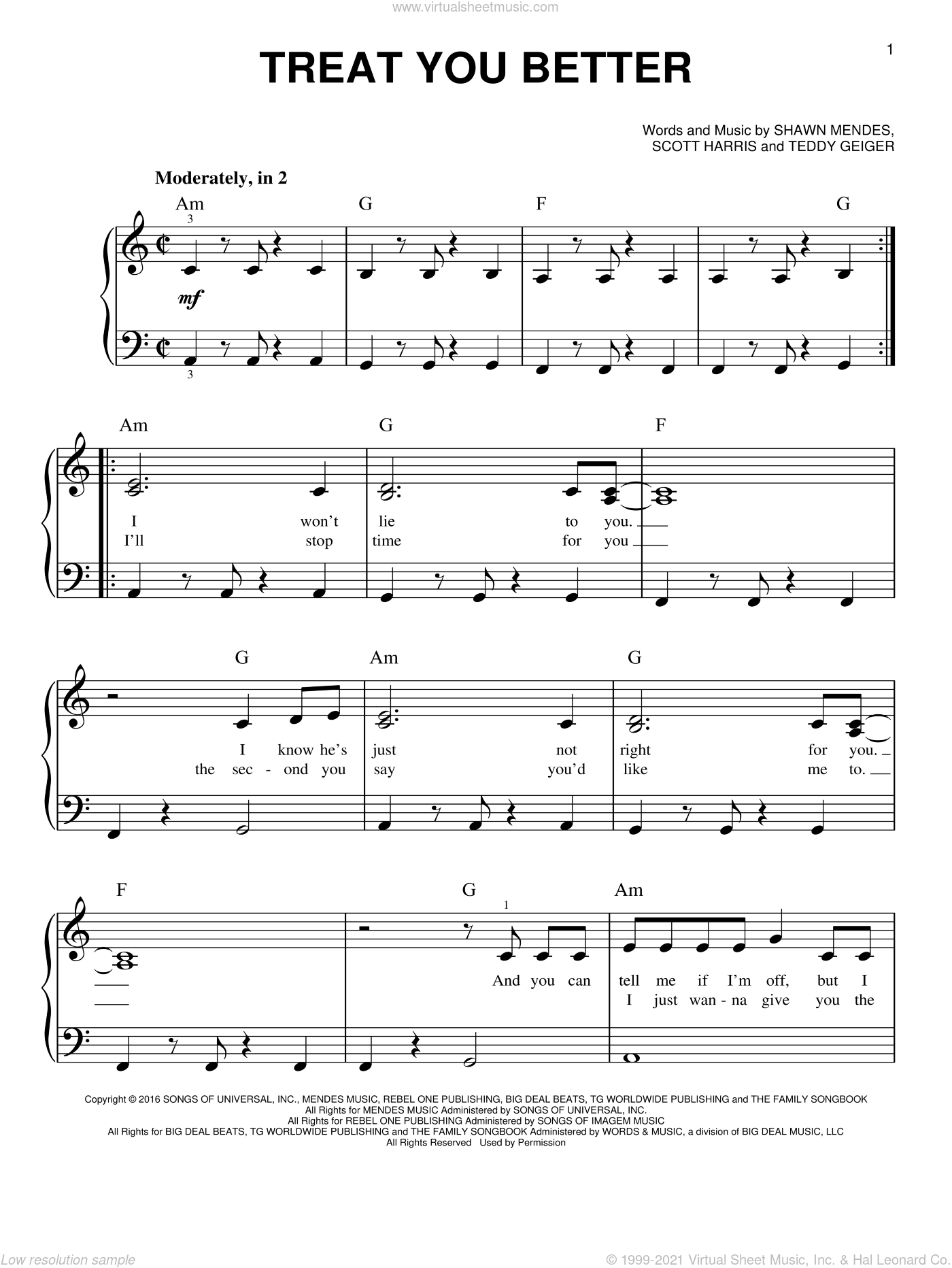 Treat You Better, (beginner) sheet music for piano solo by Shawn Mendes, Scott Harris and Teddy Geiger, beginner skill level