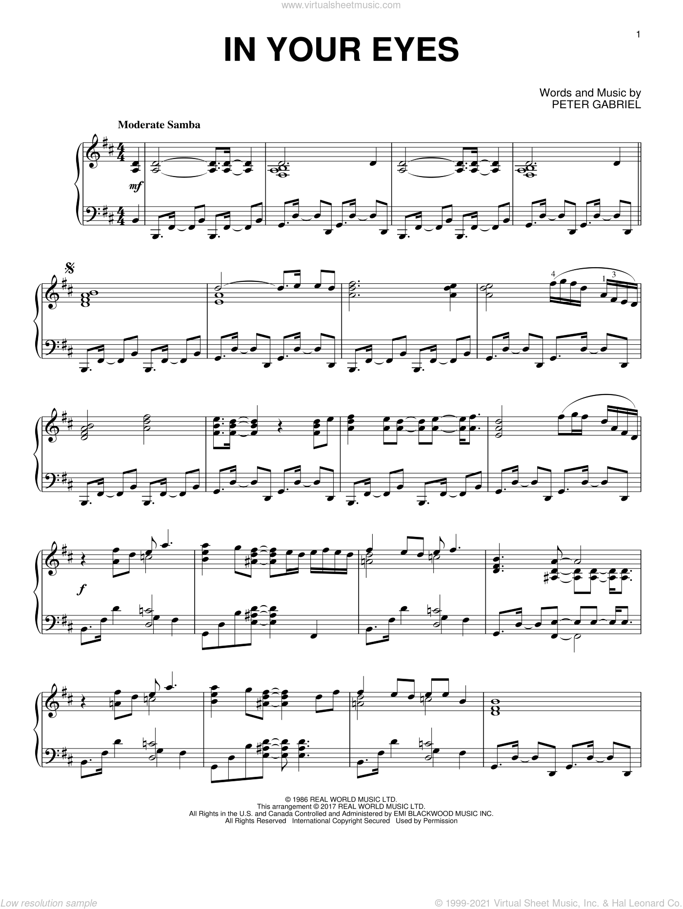 In Your Eyes, (intermediate) sheet music for piano solo by Peter Gabriel, intermediate skill level