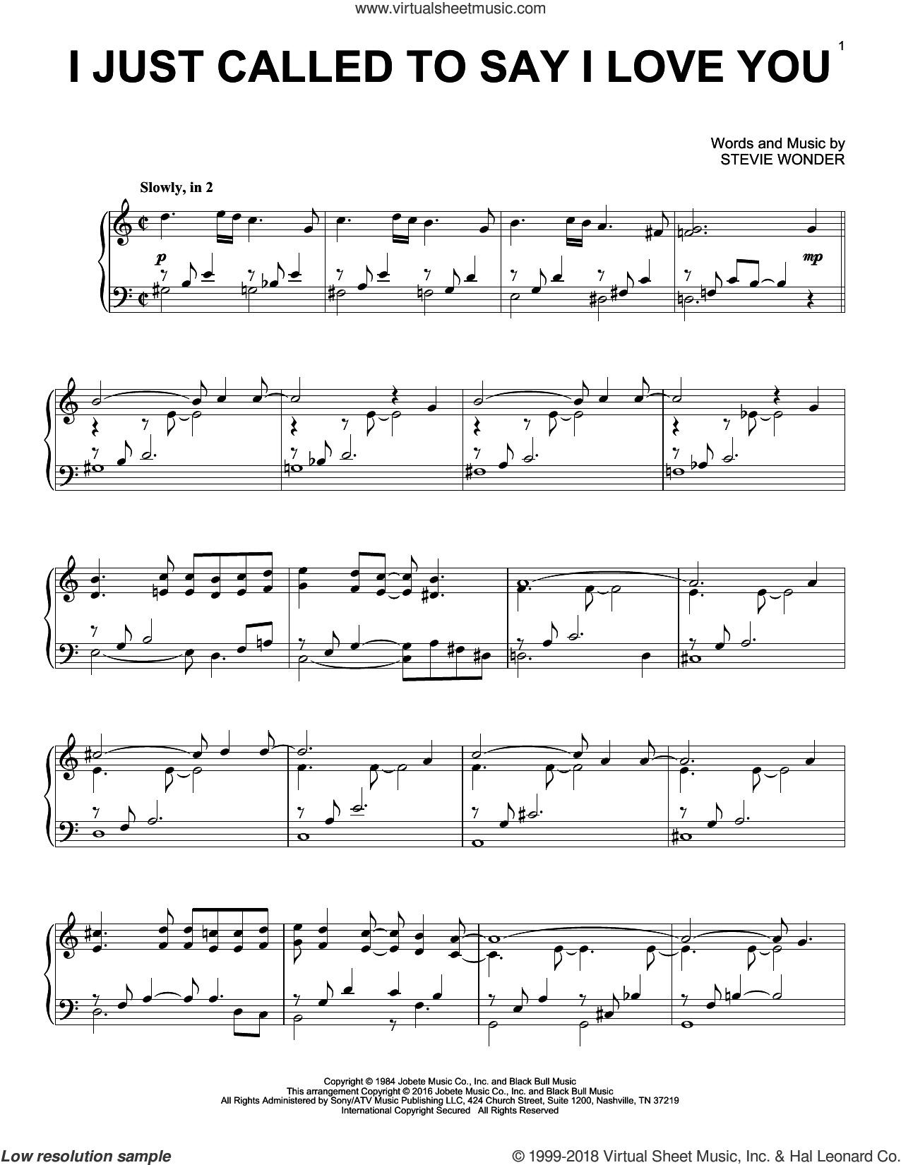 I Just Called To Say I Love You, (intermediate) sheet music for piano solo by Stevie Wonder, intermediate skill level