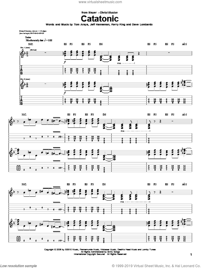 Catatonic sheet music for guitar (tablature) by Slayer. Score Image Preview.