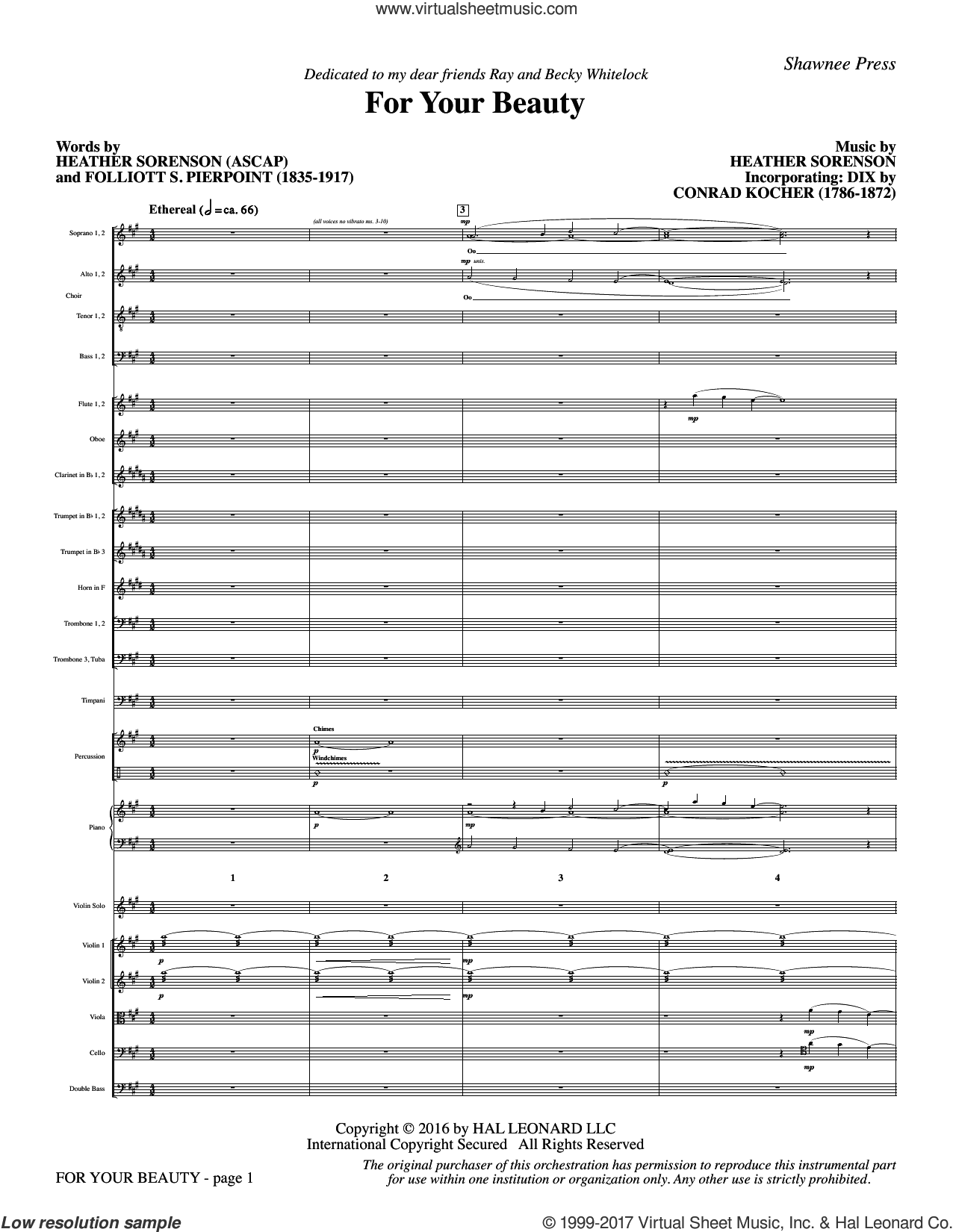 For Your Beauty (COMPLETE) sheet music for orchestra/band by Heather Sorenson, Conrad Kocher and Folliott S. Pierpoint, intermediate skill level