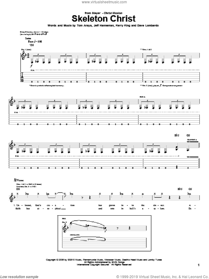 Skeleton Christ sheet music for guitar (tablature) by Tom Araya, Slayer, Jeff Hanneman and Kerry King