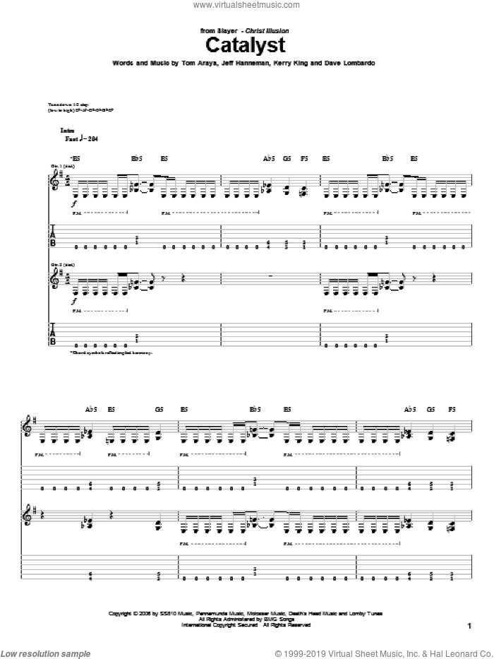 Catalyst sheet music for guitar (tablature) by Tom Araya, Slayer, Jeff Hanneman and Kerry King