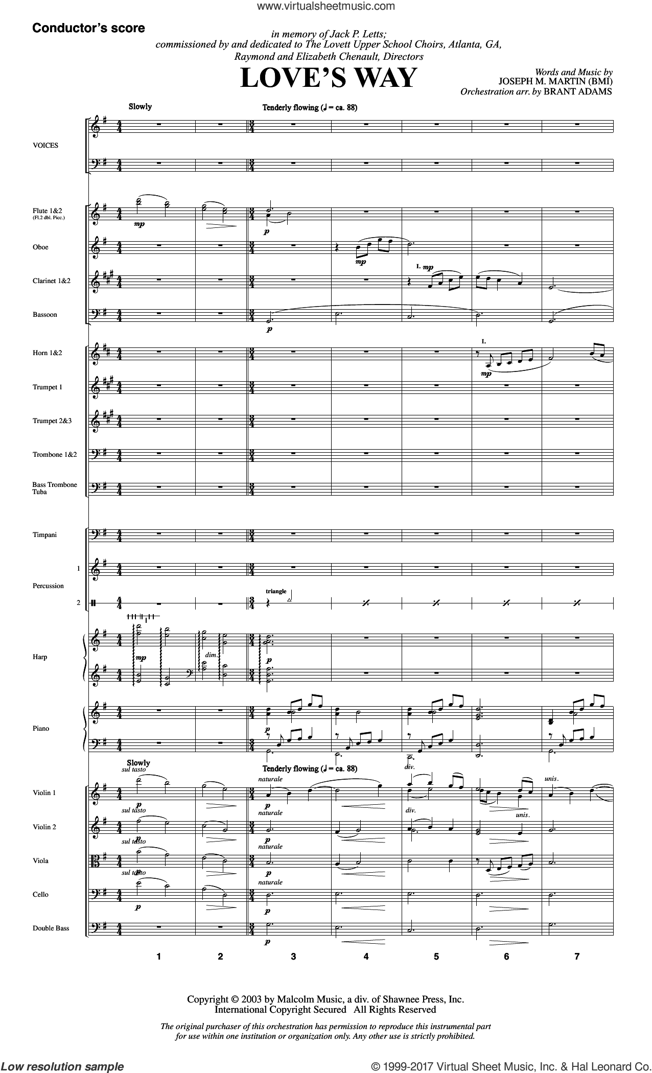 Love's Way (COMPLETE) sheet music for orchestra/band by Joseph M. Martin, wedding score, intermediate skill level