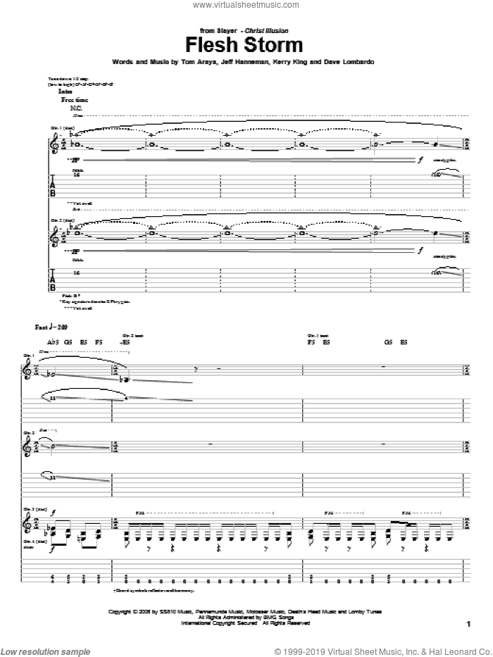 Flesh Storm sheet music for guitar (tablature) by Slayer. Score Image Preview.