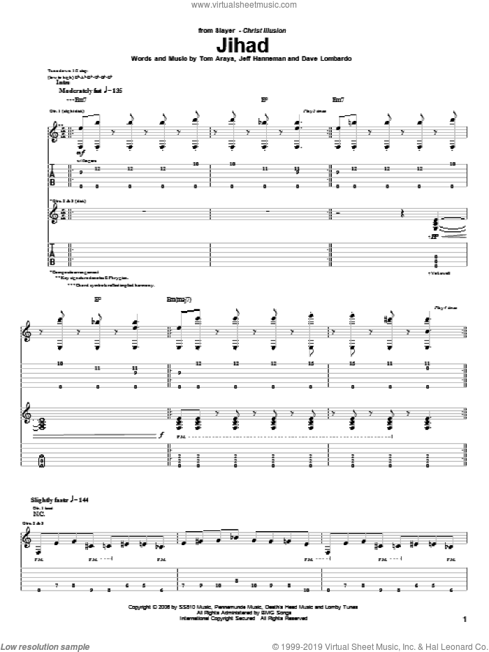 Jihad sheet music for guitar (tablature) by Tom Araya, Slayer and Jeff Hanneman. Score Image Preview.