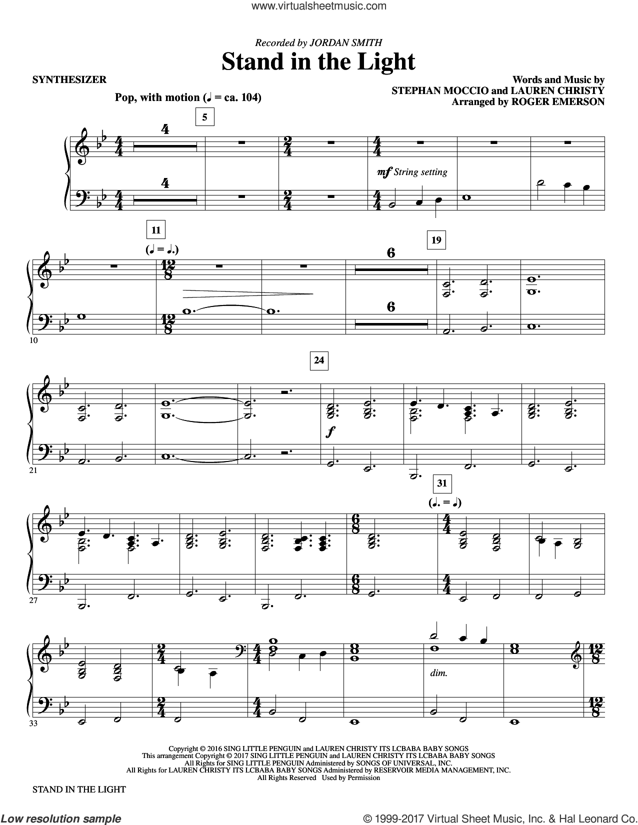Stand In The Light (complete set of parts) sheet music for orchestra/band by Roger Emerson, Lauren Christy and Stephan Moccio, intermediate skill level