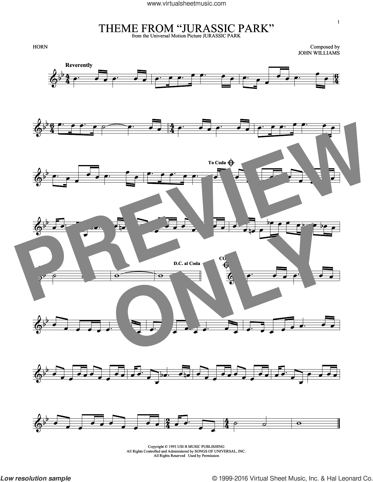Theme From Jurassic Park sheet music for horn solo by John Williams, intermediate skill level