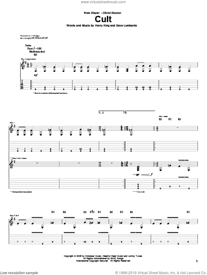 Cult sheet music for guitar (tablature) by Kerry King and Slayer