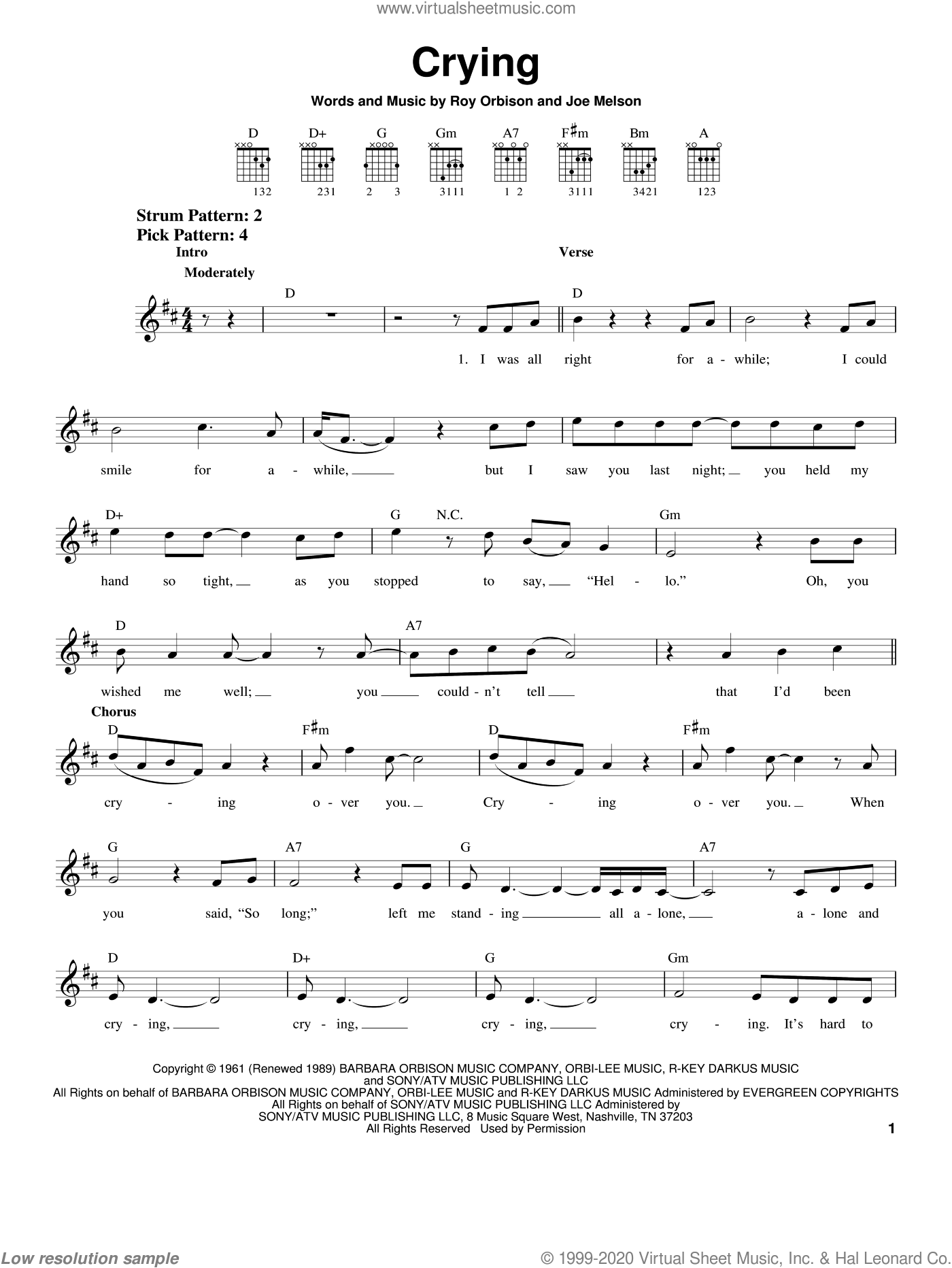 Crying sheet music for guitar solo (chords) by Roy Orbison, Don McLean and Joe Melson, easy guitar (chords)