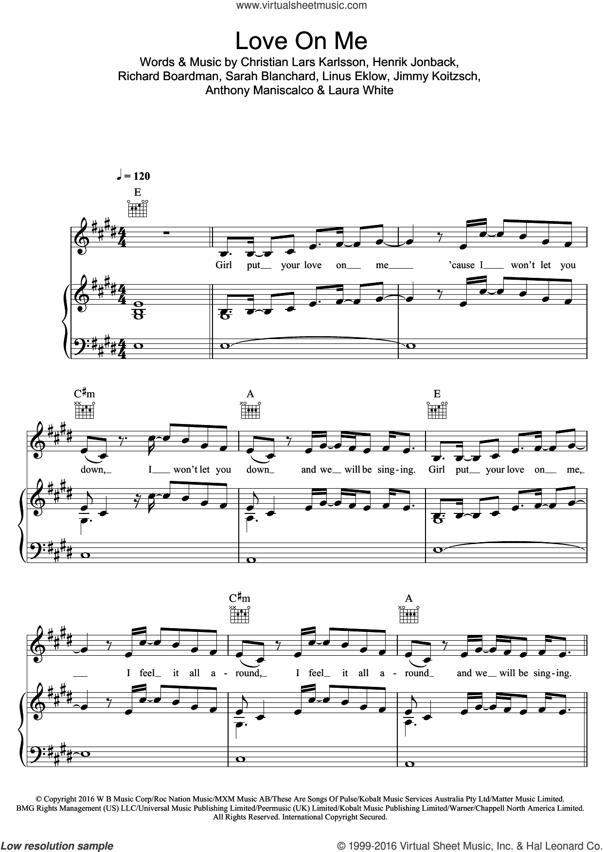 Love On Me sheet music for voice, piano or guitar by Galantis and Hook N Sling, intermediate skill level