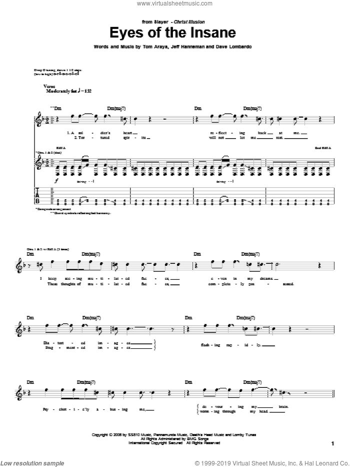 Eyes Of The Insane sheet music for guitar (tablature) by Slayer