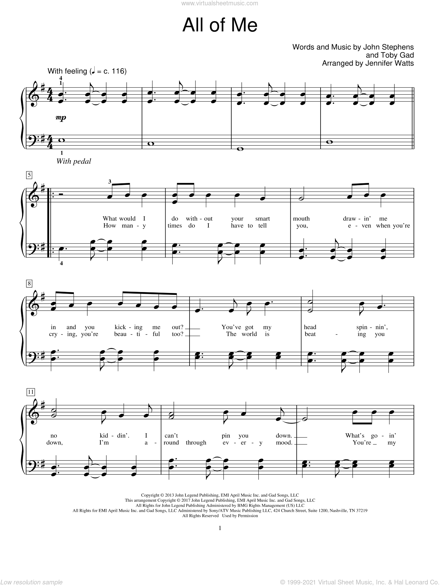 All Of Me sheet music for piano solo (elementary) by John Legend, Jennifer Watts, John Stephens and Toby Gad, classical wedding score, beginner piano (elementary)