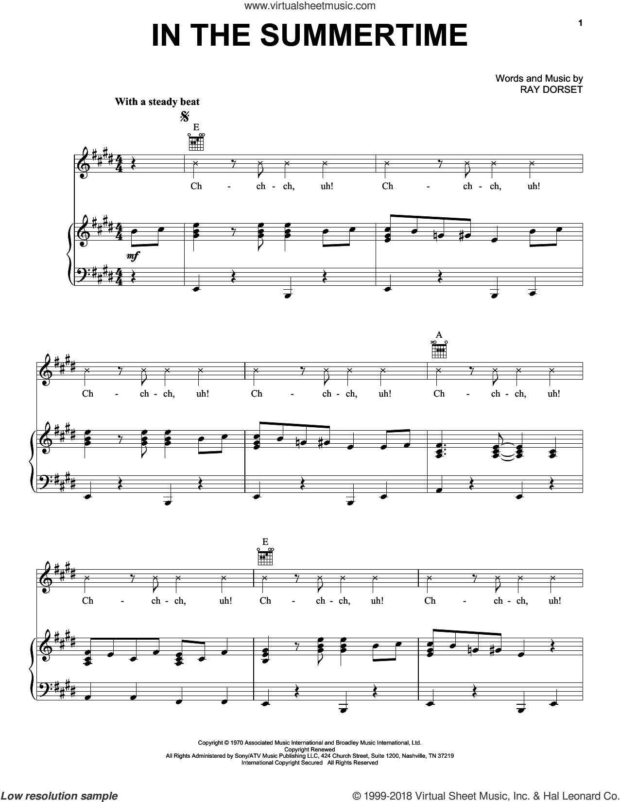 In The Summertime sheet music for voice, piano or guitar by Ray Dorset, Mungo Jerry and Shaggy, intermediate. Score Image Preview.